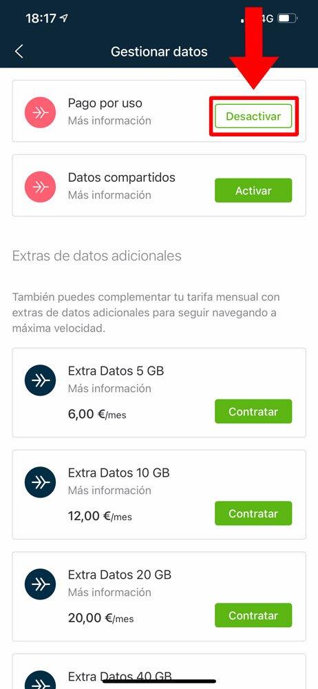 Cómo desactivar pago por uso de datos en Movistar, paso 3